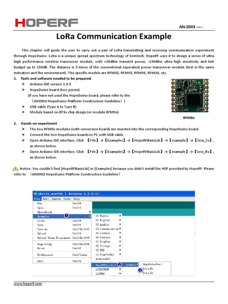 AN2003-LoRa Communication Example | Parameter (Computer