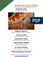Curso de Canto Barcelona Agosto
