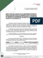RESOLUCIÓN DEL RECTOR DE LA UNIVERSIDAD DE MURCIA, POR LA QUE SE CONVOCA CONCURSO PÚBLICO PARA LA CONSTITUCIÓN DE LISTA DE ESPERA PARA LA PROVISIÓN, EN RÉGIMEN DE INTERINIDAD DE PUESTOS VACANTES EN LA ESCALA DE GESTIÓN DE SISTEMAS DE INFORMÁTICA, SERVICIO DE DESARROLLO.