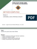 Modul 2 Variabel Dan Operasi Dasar