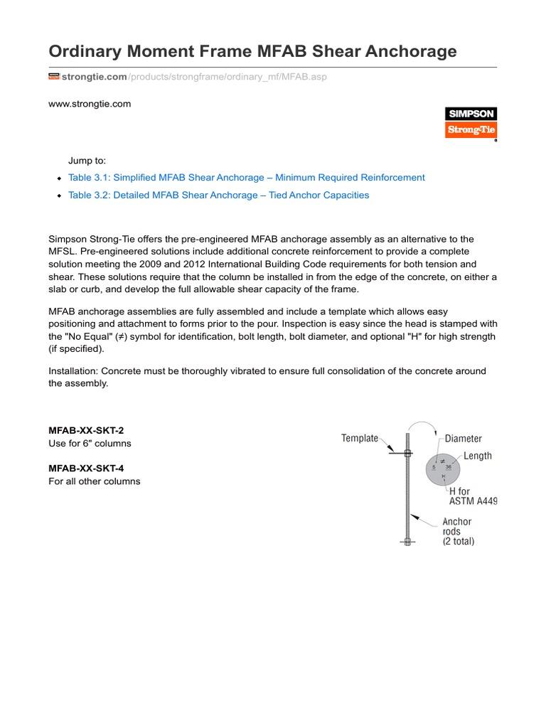 Strongtie com-Ordinary Moment Frame MFAB Shear Anchorage