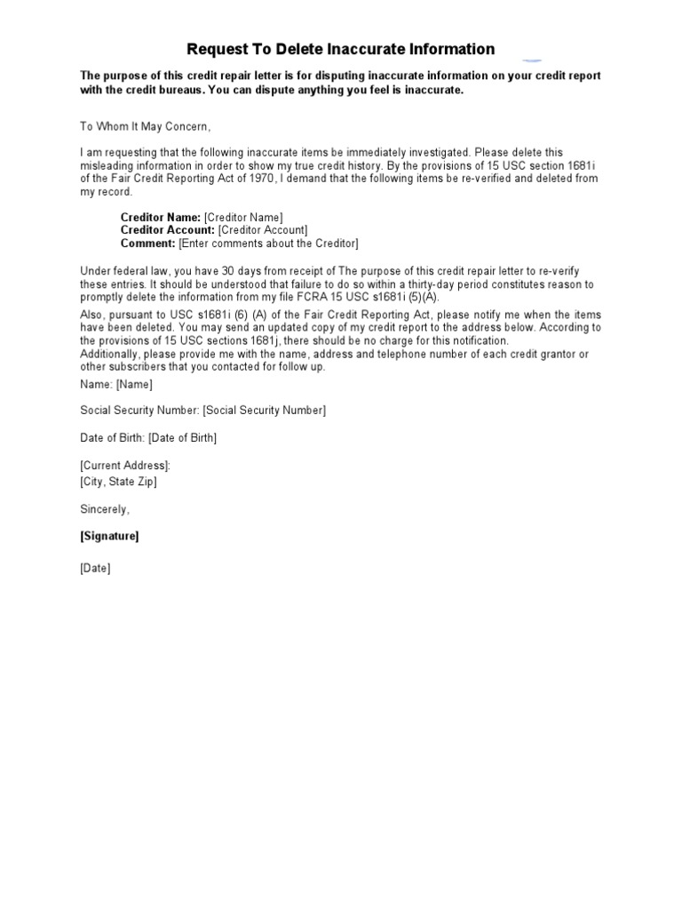 Sample Letter - Request to Delete Inaccurate Information