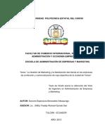 052 La Gestión de Marketing y La Satisfacción Del Cliente en Las Empresas de Confección y Comercialización de Ropa Deportiva