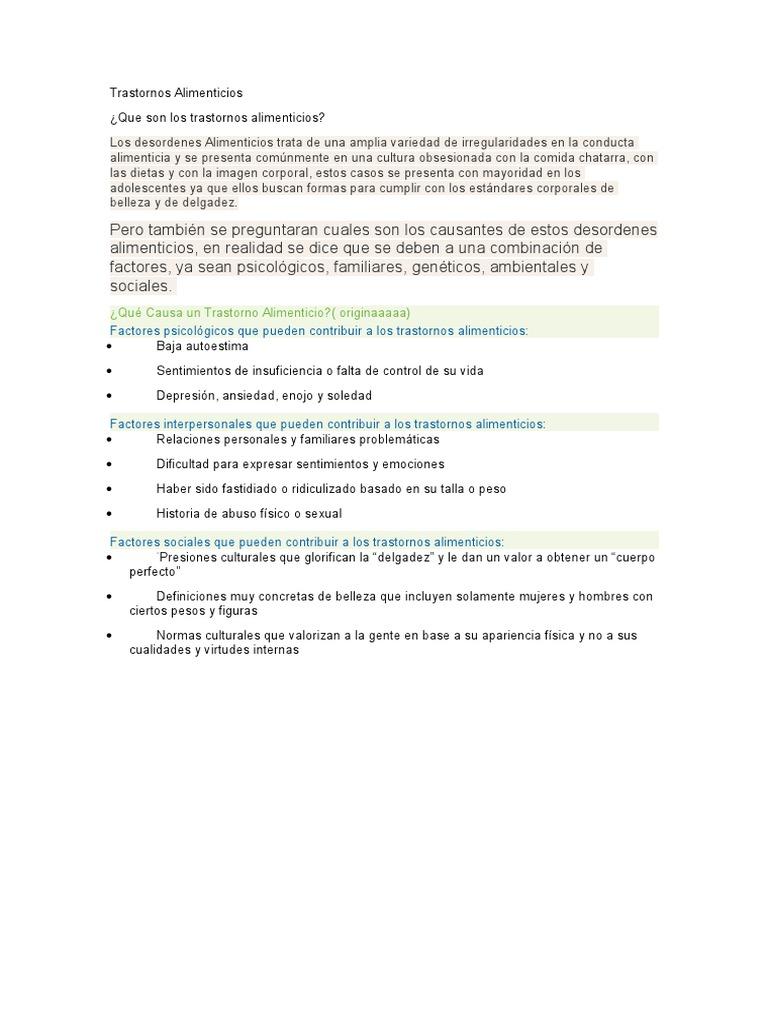 Causas interpersonales de los trastornos alimenticios