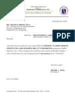 Service Credit Letter