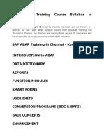 Sap Abap Course Syllabus in Chennai