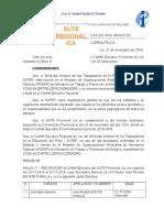 RESOLUCIÓN DE RECONOCIMIENTO SUTE PROVINCIAL ICA, PERÍODO 2016-2019