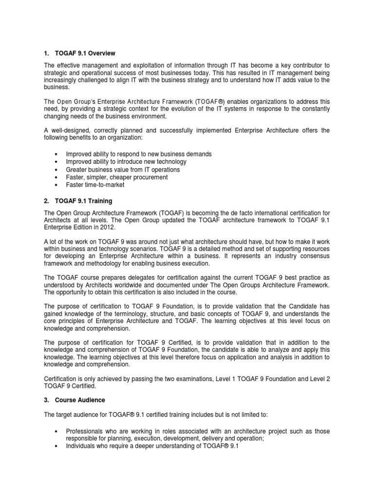 Togaf 91course Content Enterprise Architecture Test Assessment