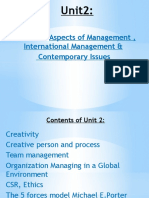 Unit 2 Functional Aspects, International Management & Contemporary Issues