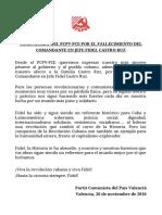 Comunicado PCPV por fallecimientode Fidel