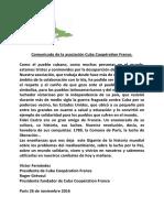 Comunicado de la Asociación Cuba Coopération France.