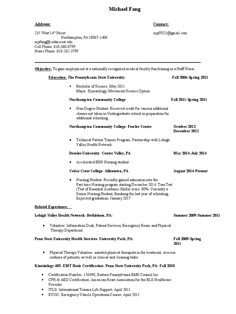 Resume Emergency Medical Technician Physical Therapy
