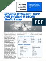 Sylvania BriteBeam 1200w PAR-64 Mark II Product Information Bulletin 1987
