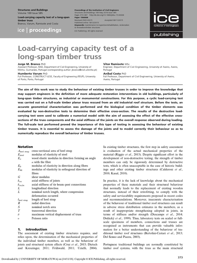 Load-carrying capacity test of a long-span timber truss