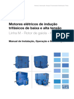 WEG Motores de Inducao Trifasicos de Baixa e Alta Tensao Linha m Rotor de Gaiola Horizontais 11066437 Manual Portugues Br