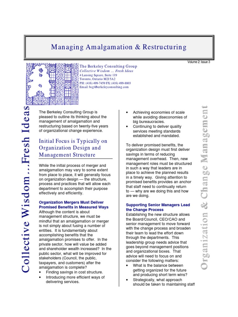 Managing Amalgamation & Restructuring: Initial Focus is