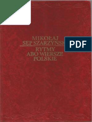 Mikołaj Sęp Szarzyński Rytmy Albo Wiersze Polskie