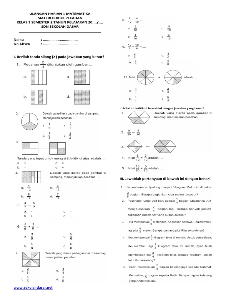 Soal Matematika Kelas 3 Semester 2 Pecahan Pdf