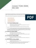 Welding Processes Fcaw, Gmaw, Gtaw, Smaw, Saw
