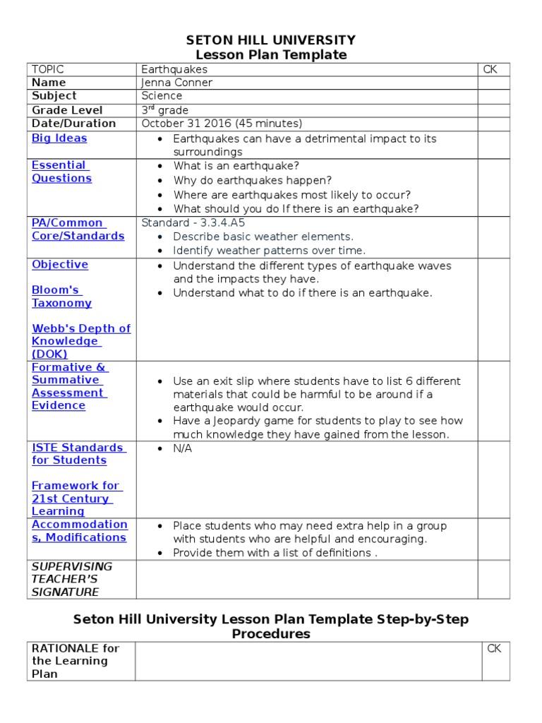 Earthquakes Lesson Plan Epistemology Pedagogy - University lesson plan template