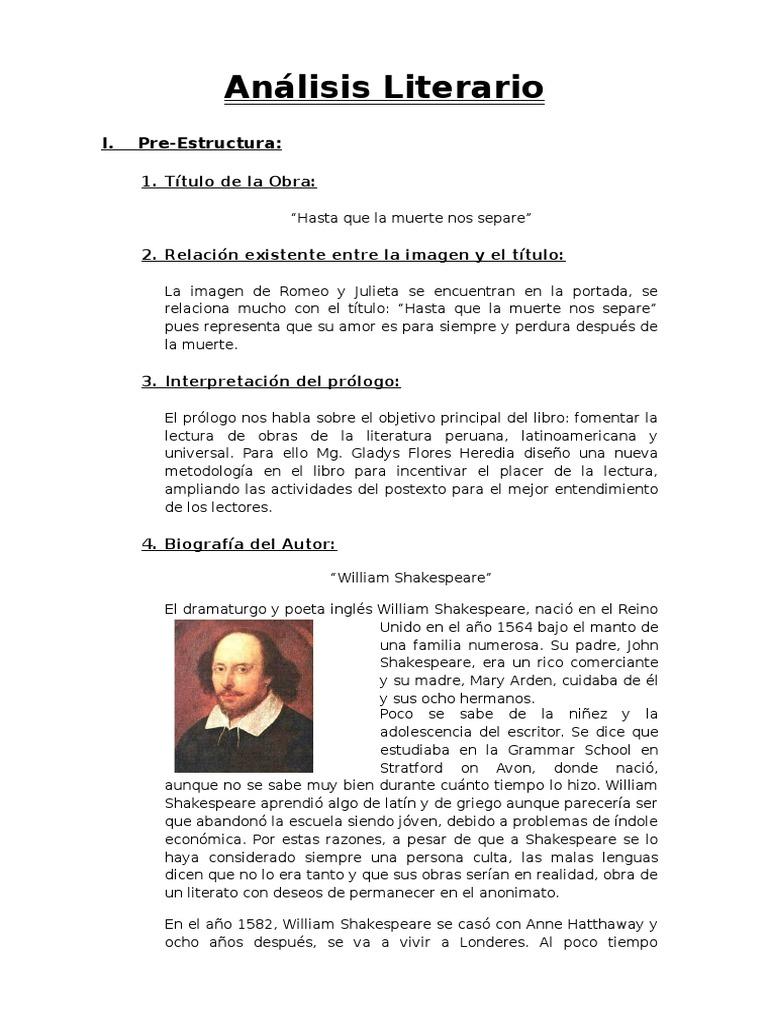 Análisis Literario De Romeo Y Julieta William Shakespeare Romeo Y Julieta