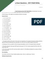 Affairscloud.com-IBPS Clerk Preliminary Exam Questions 261116All Shifts