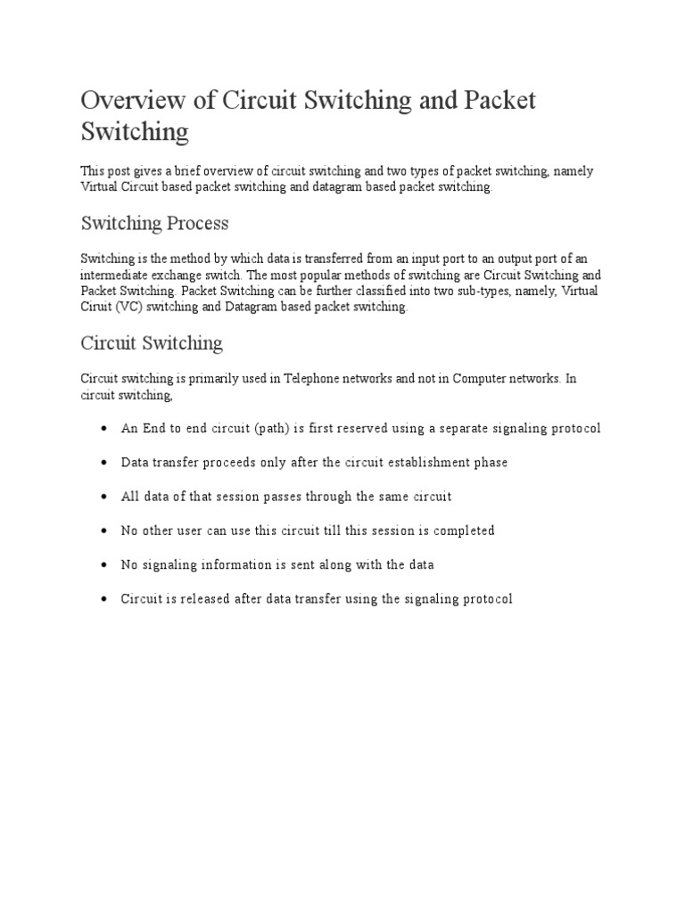 Overview Of Circuit Switching And Packet Virtual Network