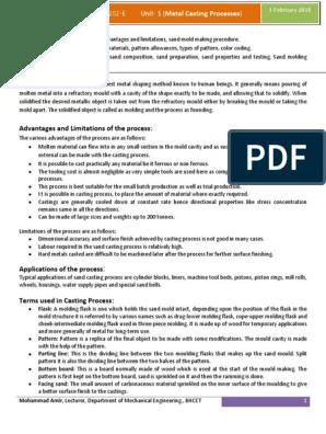 Unit 1 Metal Casting Processes Mt 1 | Casting (Metalworking