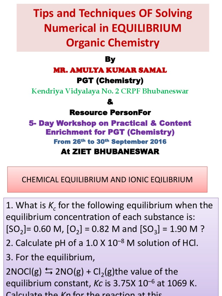 Chemical Equlibrium and Ionic Eqilibrium | Chemical