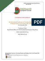 GRDS International Conference LEAP Proceedings,October 2016,Hongkong