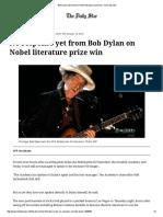 Bob Dylan Still Silent on Nobel Literature Prize Win
