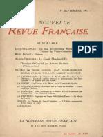 Copeau Un Essai de Rénovation Dramatique, NRF 1913