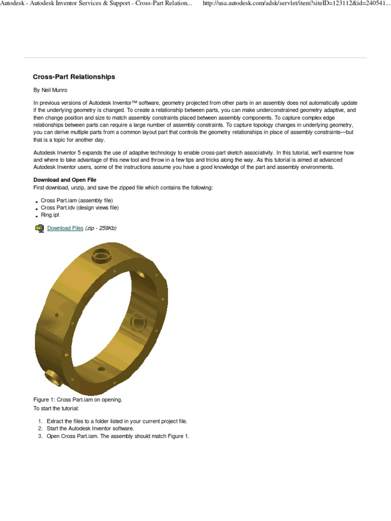 Autodesk Inventor - Cross Part Relationships | Circle | Extrusion