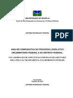 Análise Comparativa Do Processo Legislativo Orçamentário Federal e Do Distrito Federal
