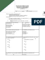 Evaluacion de Fracciones Diferenciada 2016