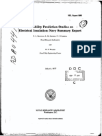 Reliability Prediction Studies on Electrical Insulation Navy Summary Report NAVAL