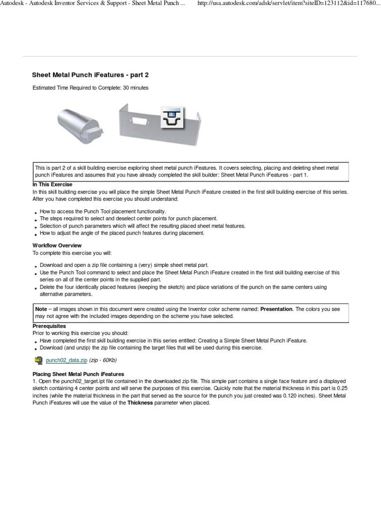 Autodesk Inventor - Sheet Metal Punch ifeatures | Zip (File