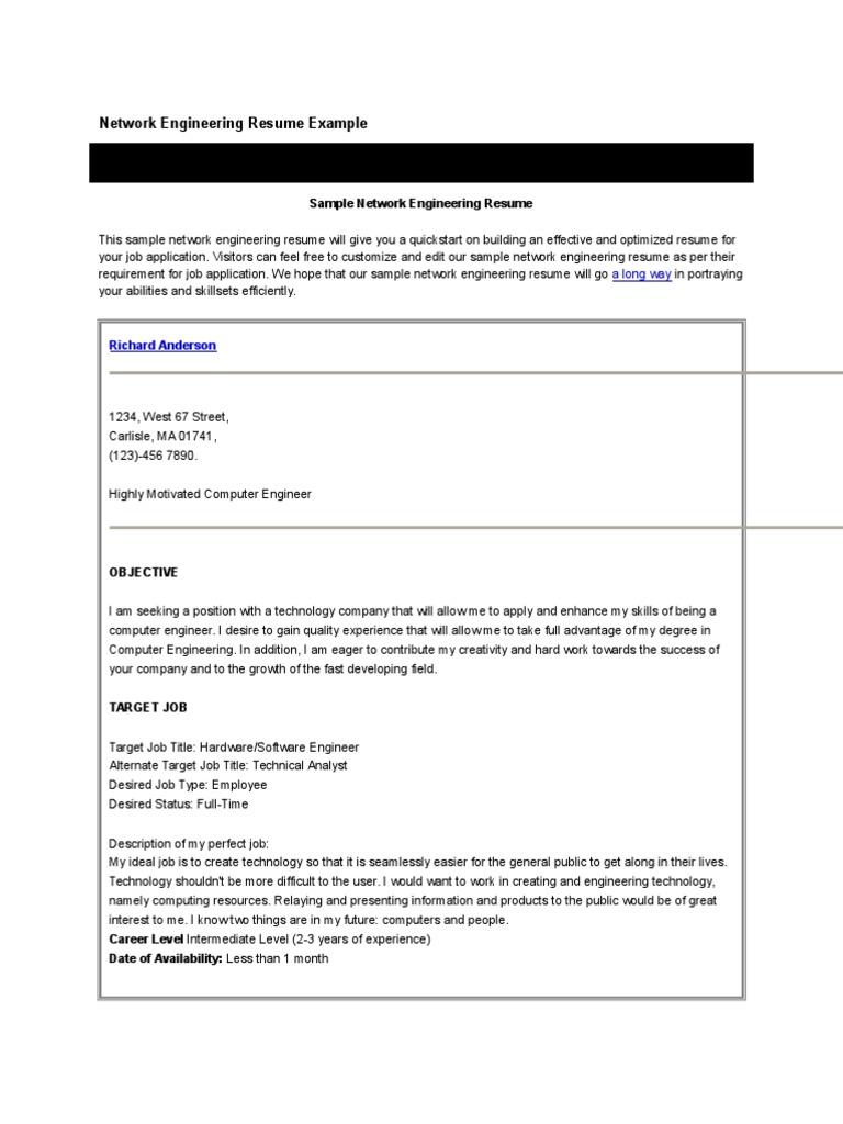 Network Engineering Resume Example