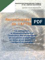 AFTES 147 (1998) - La Conception, Le Dimensionnement Et l'Exécution Des Revêtements en Voussoirs Préfabriqués en Béton Armé Installés à l'Arrière d'Un Tunnelier (GT18R1F1)