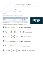 Ejercicios Sobre Enlaces Covalentes Simples y Múltiples