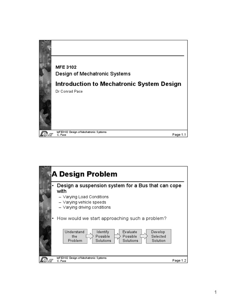 Lecture Notes Set 1 Introduction To Mechatronics System Design System Mechatronics