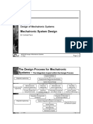 Lecture Notes Set 2 Designing Mechatronic Systems System Mechatronics