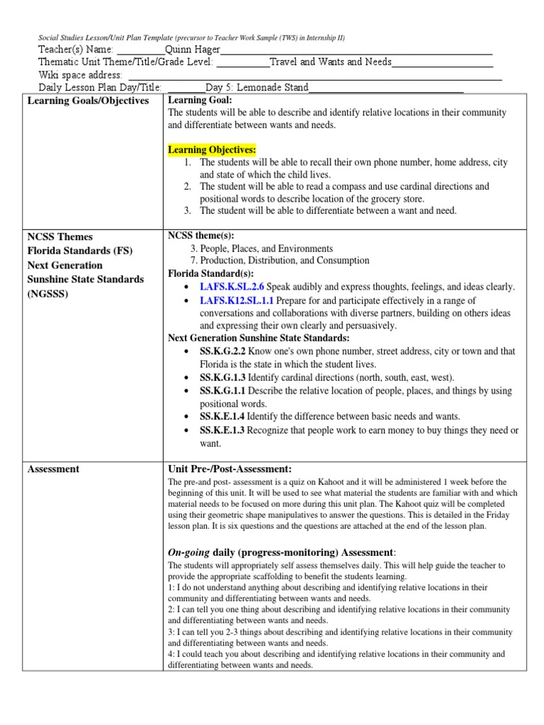 Sse Final Lesson Plan Travel Wants And Needs Lesson Plan - Thematic lesson plan template