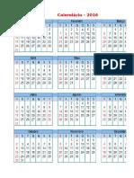 Calendario Com Feriados Nacionais 2016 0