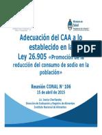 Adecuación del CAA a la reducción de sodio