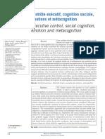 Contrôle Exécutifs, Cognition Sociale, Émotions Et Métacognition