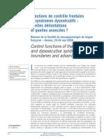 Fonctions de Contrôle Frontales Et Syndrome Dysexécutifs Quuelle Déliminatations Et Quelles Avancées