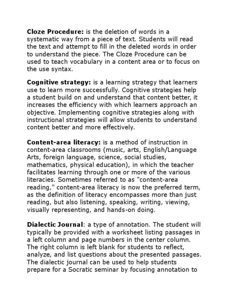 Professional Vocabulary Vocabulary Reading Process