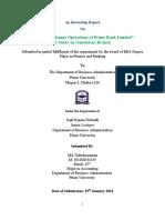 cover of internship report