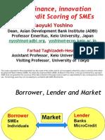 SME Finance, Innovation and Credit Scoring of SMEs
